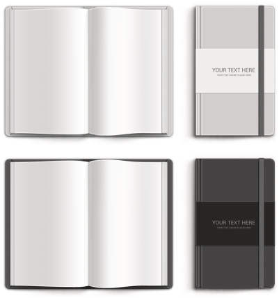 Two open blank notebooks and two closed notebooks
