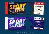 two option ticket or voucher design vector, sport event light theme with simple layout elegant and abstract background and balance composition, editable and customize