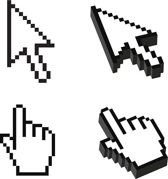 2, 3차원 모양 커서가 설정 - 커서 stock illustrations