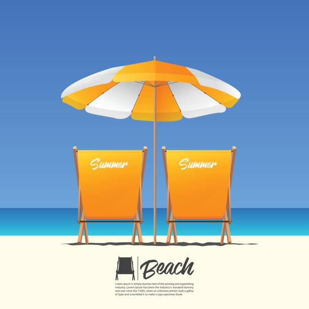 Two orange summer beach chair in back view and orange beach umbrella. Blue gradient sky background. Two orange summer beach chair in back view and orange beach umbrella. Blue gradient sky background . Vector Illustration. outdoor chair stock illustrations