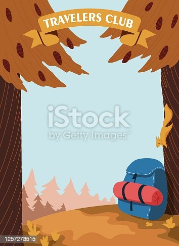 istock Two orange trees with cones frame the illustration, a squirrel came down to look at a hiking blue backpack with a sleeping bag. 1257273515