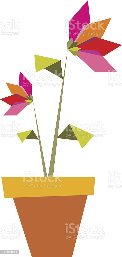 Two Origami vibrant colors flowers. royalty-free two origami vibrant colors flowers stock vector art & more images of color image