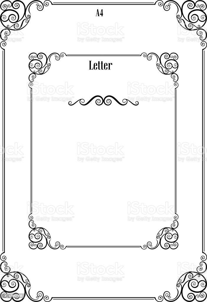 Auf Seite Zwei Verzierte Schwarzen Rahmen A4 Und Letter Proportionen ...