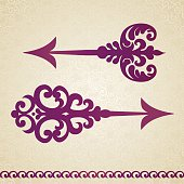 Two ornate decorated vector arrows in Victorian style on seamless curls background. Element for design. It can be used for decorating of invitations, cards, decoration for bags and at tattoo creation.