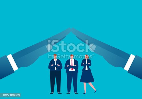 istock Two outstretched palms protect the business team, business insurance and protection 1327186679