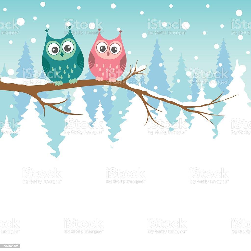 フクロウの上の 2 つの枝で冬の森 のイラスト素材 533194505   istock