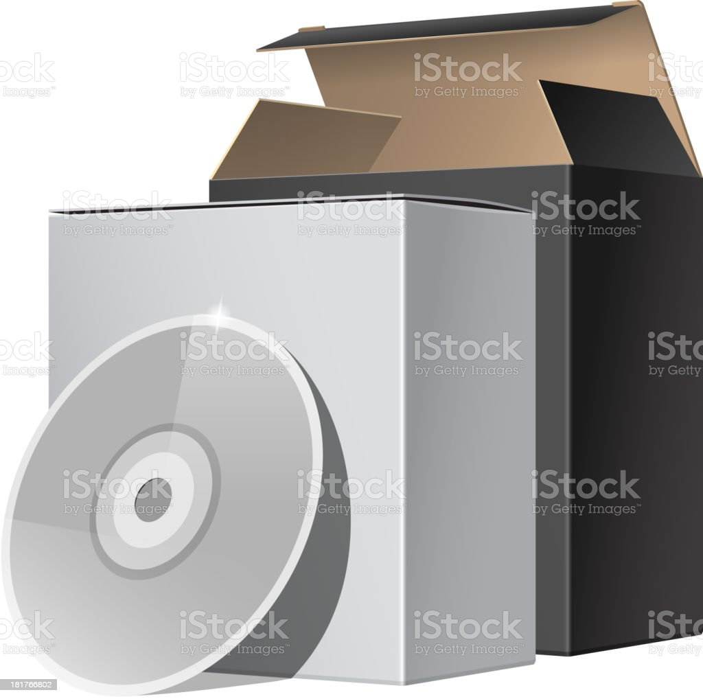 Two Package Box Opened with DVD Or CD Disk royalty-free two package box opened with dvd or cd disk stock vector art & more images of blank