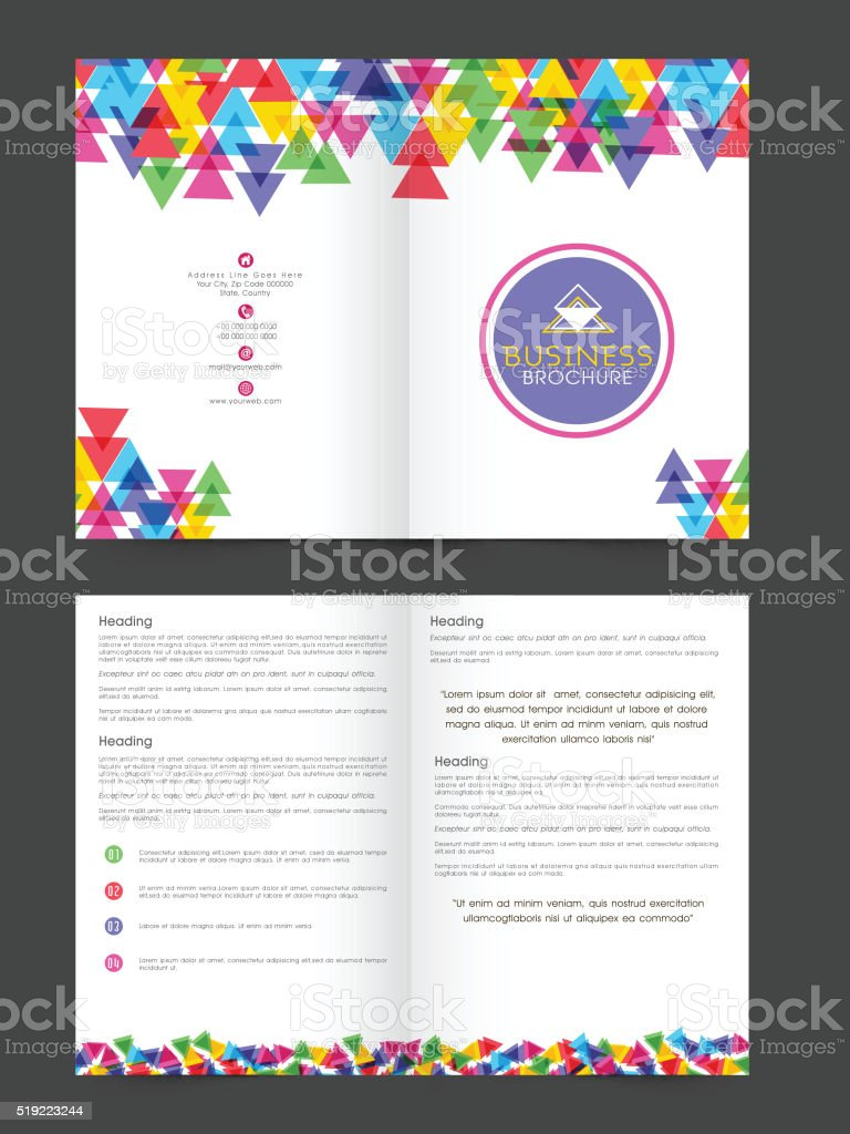 two page brochure template or flyer for business stock vector art