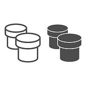 Two paint jars line and solid icon. Plastic bucket for painting symbol, outline style pictogram on white background. Painter inventory item sign for mobile concept and web design. Vector graphics