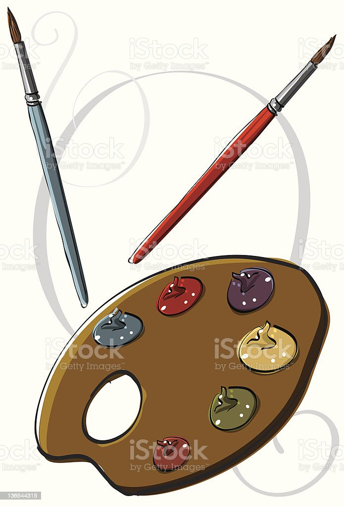 Two paintbrushes & palette royalty-free stock vector art