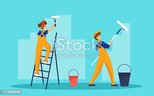 istock Two painters painting wall. One worker is standing on ladder. Repair and interior renovation service vector concept. 1213583556