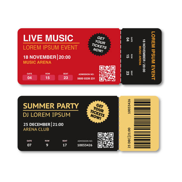 two, pair vector ticket isolated isolated on white background. cinema, theater, concert, play, party, event, festival ticket realistic template set. ticket icon for website. - tickets and vouchers templates stock illustrations
