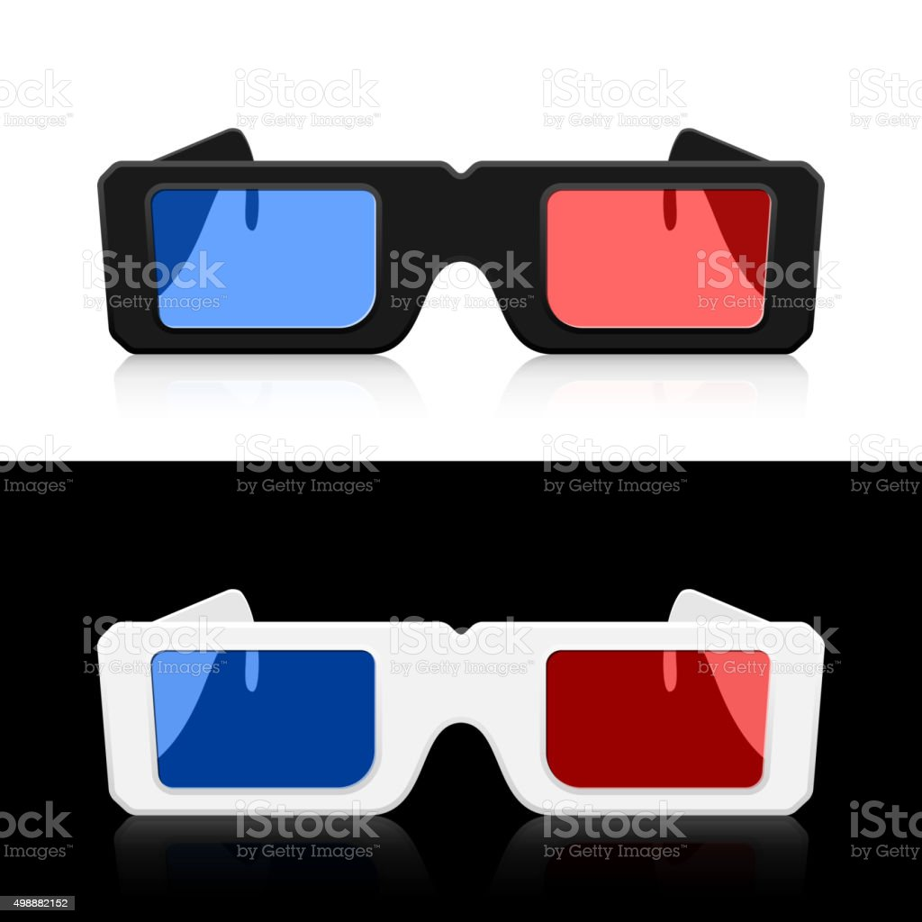 Two pairs 3D glasses vector art illustration