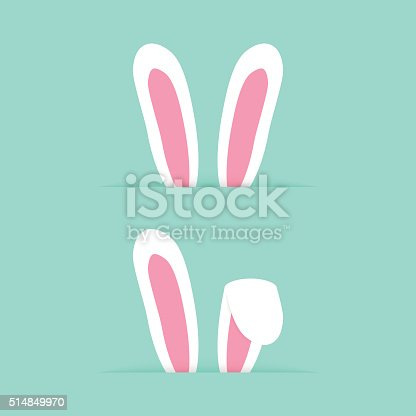 two pairs rabbit ears like happy easter. concept of design element, website banner, postcard decor, furry mammal. isolated on green background. flat style trendy modern eps10 vector illustration