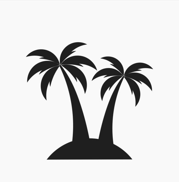 Two palm trees on island vector art illustration