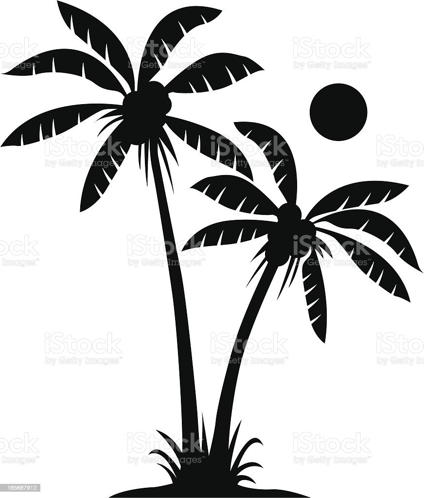 Two palms in black and white stock vector art more for Black and white only