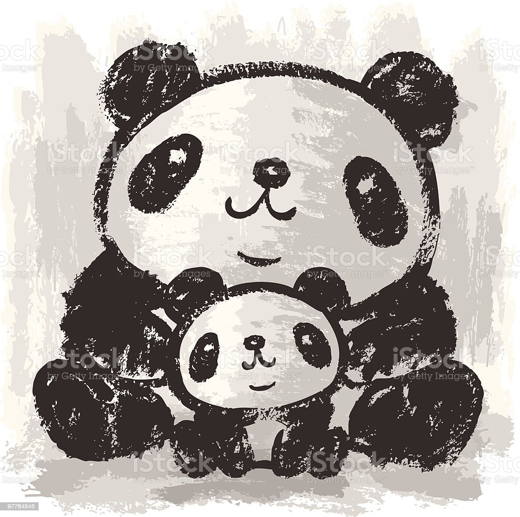 Two pandas are sitting vector art illustration
