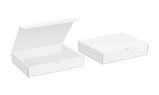 Two paper boxes mockup with opened and closed lid isolated on white background