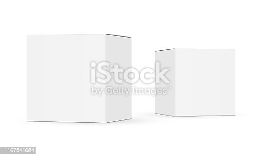 Two paper boxes mockups isolated on white background. Vector illustration