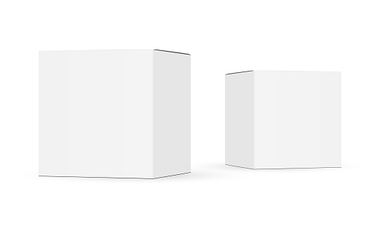 Two paper boxes mockups isolated on white background