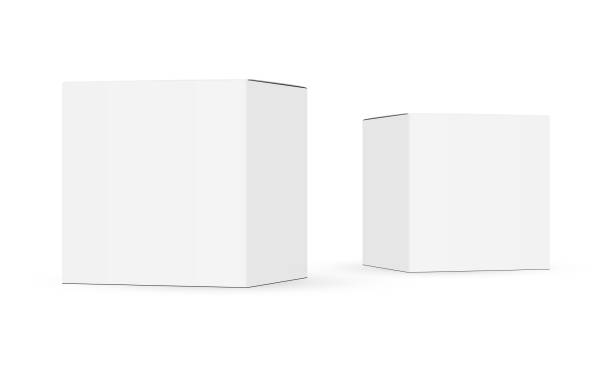 Two paper boxes mockups isolated on white background Two paper boxes mockups isolated on white background. Vector illustration package stock illustrations