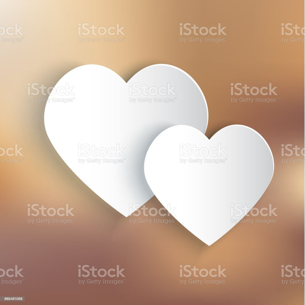 Two paper hearts on bronze background vector art illustration