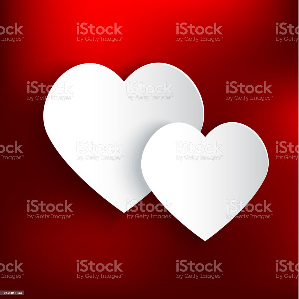 Two paper hearts on red background vector art illustration