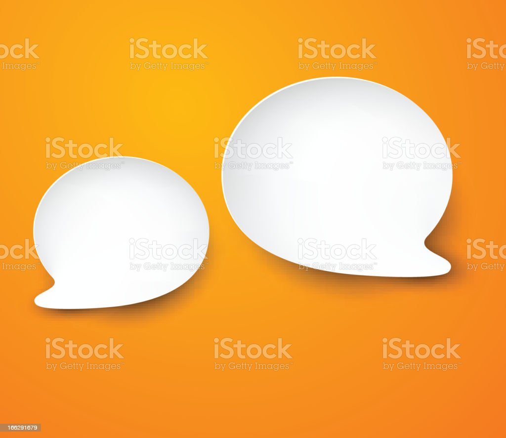 Two paper white speech bubbles on an orange background royalty-free stock vector art