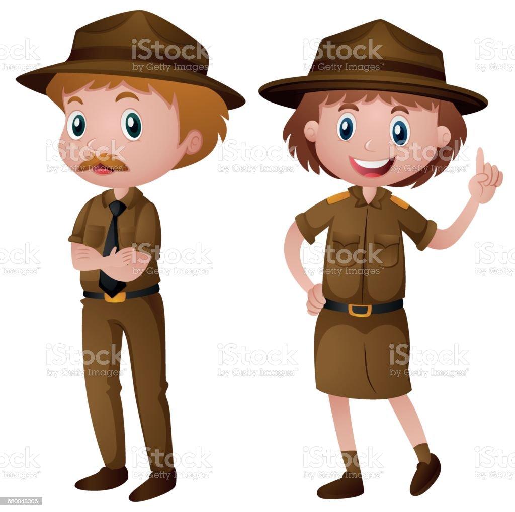 茶色の制服を着た 2 つのパーク レンジャー イラストレーションの