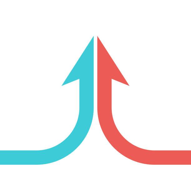 two parts merging, arrow - dwa przedmioty stock illustrations