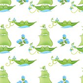 Two Peas In A Pod Baby Seamless Pattern With Blue Flowers