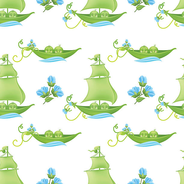 two peas in a pod baby pattern with blue flowers - like two peas in a pod stock illustrations, clip art, cartoons, & icons