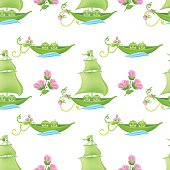 Two Peas In A Pod Baby Seamless Pattern  With Pink Flowers