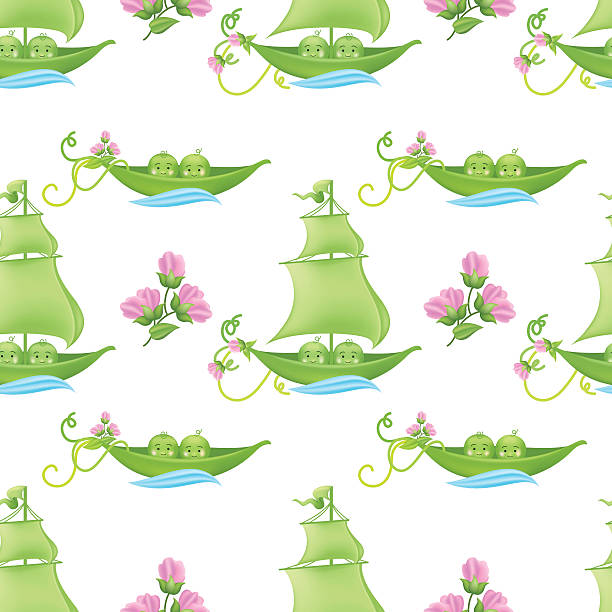 two peas in a pod baby pattern with pink flowers - like two peas in a pod stock illustrations, clip art, cartoons, & icons
