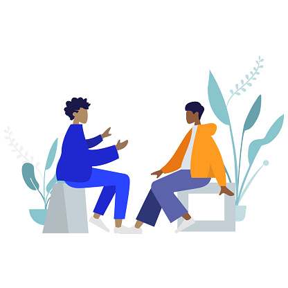 Two people, a man and a woman, are sitting and talking to each other, colorful human illustrations on white background, human illustration
