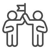 Two people and flag line icon, Coworking concept, partnership sign on white background, teamwork collaboration icon in outline style for mobile concept and web design. Vector graphics