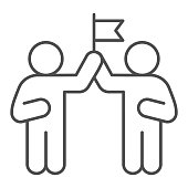 Two people and flag thin line icon, Coworking concept, partnership sign on white background, teamwork collaboration icon in outline style for mobile concept and web design. Vector graphics