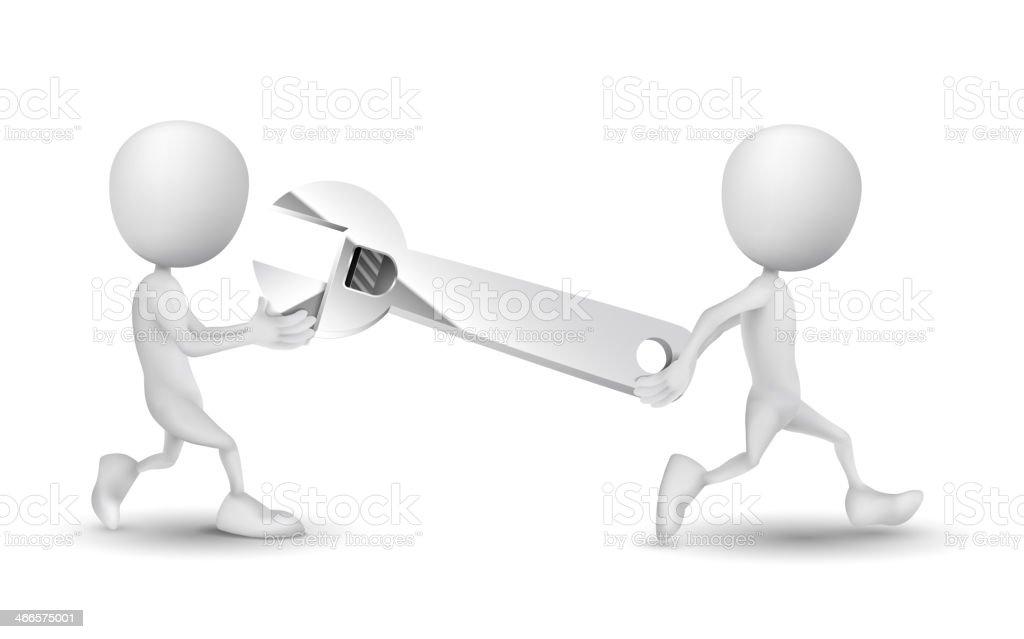 Duas pessoas transportados uma chave - ilustração de arte em vetor