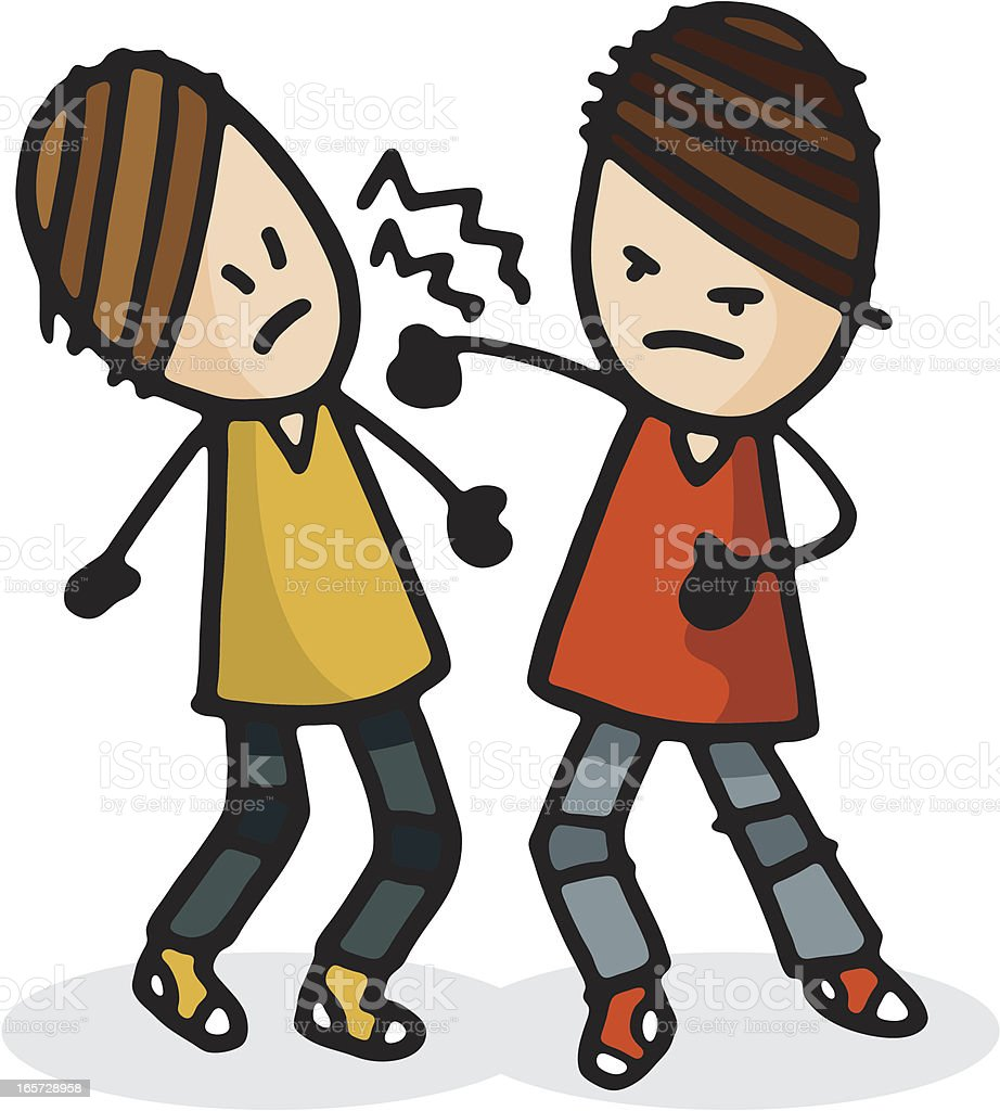 Two people fighting vector art illustration