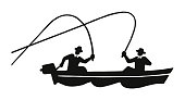 Two People Fishing in a Boat