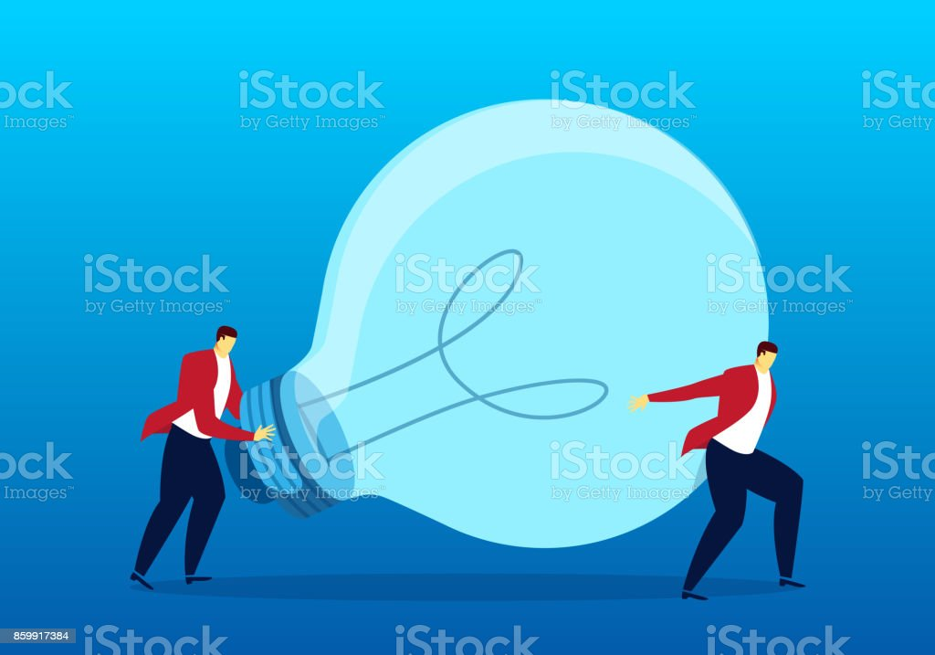 Two people handling bulbs vector art illustration