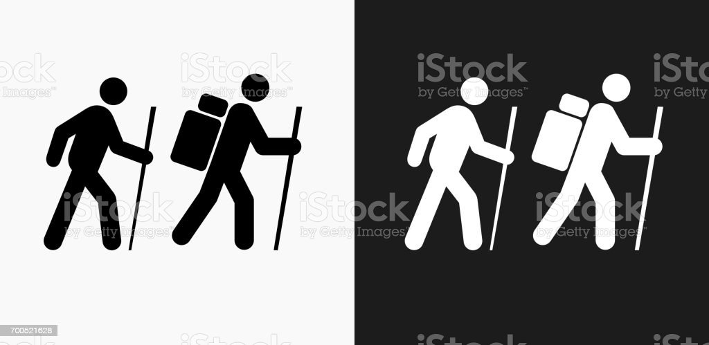 Two People Hiking Icon on Black and White Vector Backgrounds vector art illustration