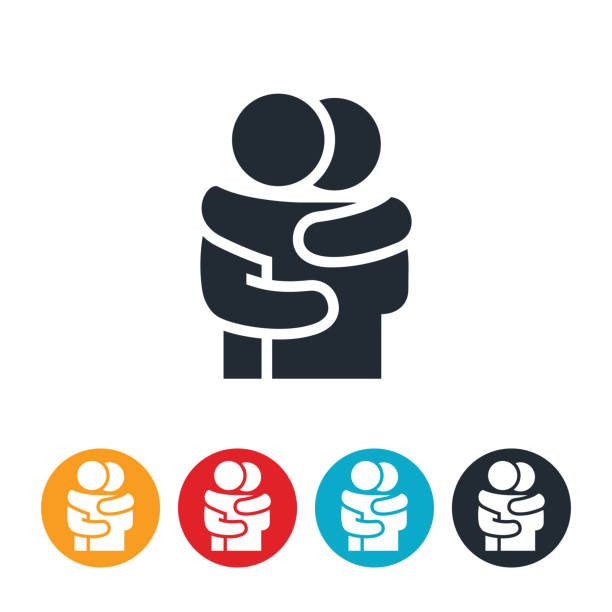 Two People Hugging Icon An icon of two people hugging. hug stock illustrations