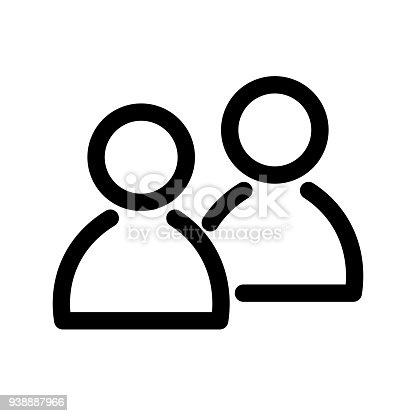 Two people icon. Symbol of group or pair of persons, friends, contacts, users. Outline modern design element. Simple black flat vector sign with rounded corners.