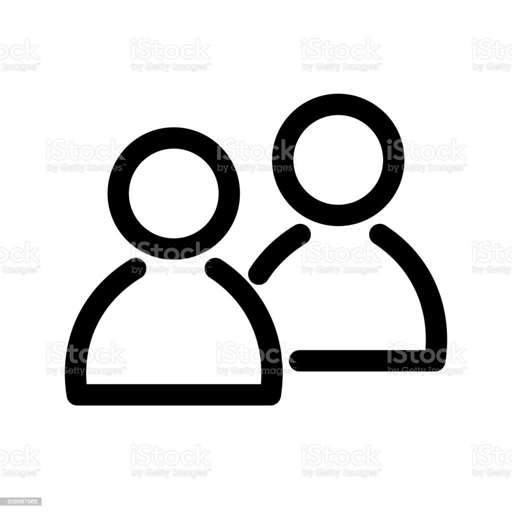 Icono de dos personas. Símbolo del grupo o par de personas, amigos, contactos, usuarios. Elemento de diseño moderno de contorno. Signo simple vector plano negro con esquinas redondeadas - ilustración de arte vectorial