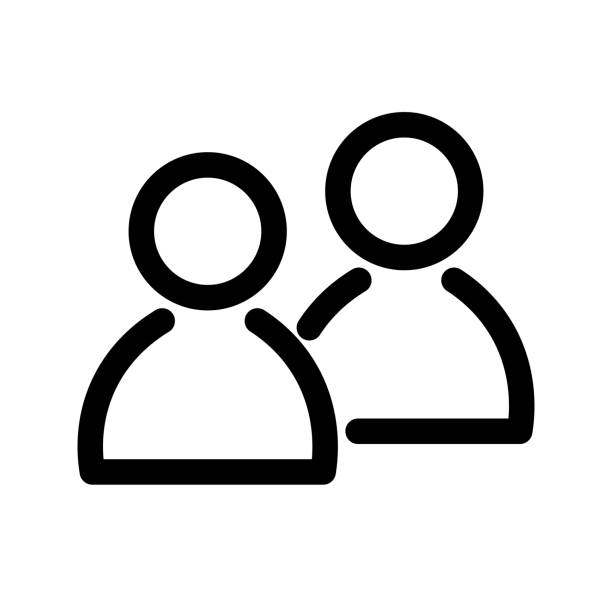 Two people icon. Symbol of group or pair of persons, friends, contacts, users. Outline modern design element. Simple black flat vector sign with rounded corners Two people icon. Symbol of group or pair of persons, friends, contacts, users. Outline modern design element. Simple black flat vector sign with rounded corners. two people stock illustrations