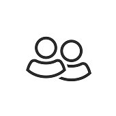Two people icon vector, line outline two persons together isolated symbol, idea of couple shape or team group community pictogram, partnership or friends clipart