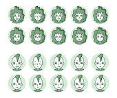 istock Two People Icons (Green) Expression Variation 11 1253592312