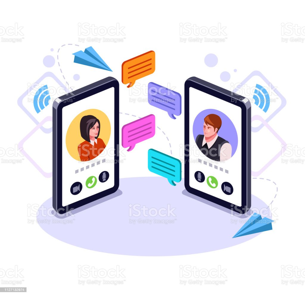 Two people man and woman character talking by smart phone. Online communication email message concept. Video call business chat. Vector flat graphic design cartoon isolated illustration - Royalty-free A usar um telefone arte vetorial