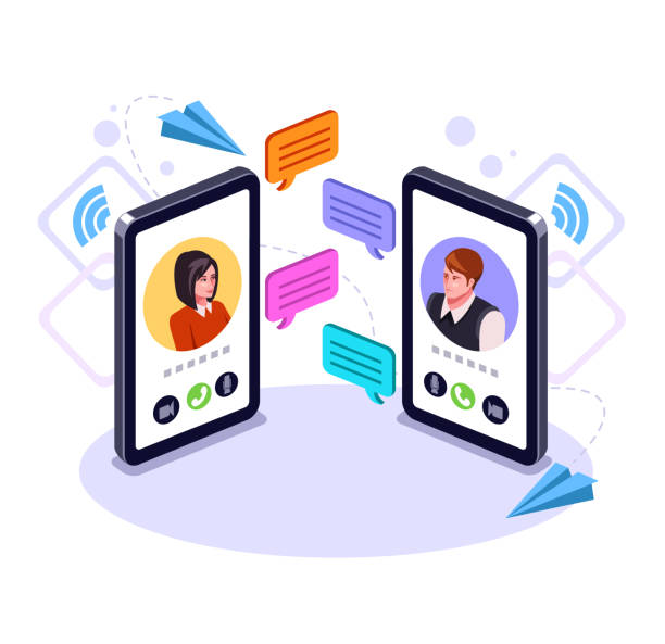ilustrações de stock, clip art, desenhos animados e ícones de two people man and woman character talking by smart phone. online communication email message concept. video call business chat. vector flat graphic design cartoon isolated illustration - video call
